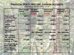 tropical peat land use carbon budgets calculated for a 25 year period t c ha 11