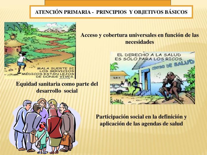 ATENCIÓN PRIMARIA -  PRINCIPIOS  Y OBJETIVOS BÁSICOS
