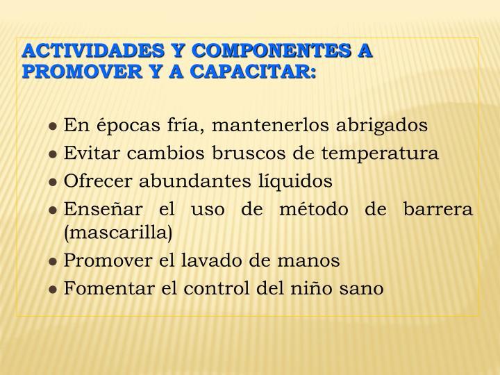 ACTIVIDADES Y COMPONENTES A PROMOVER Y A CAPACITAR: