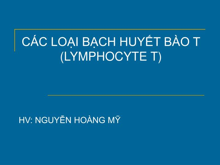 C c lo i b ch huy t b o t lymphocyte t