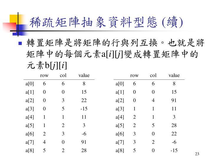 稀疏矩陣抽象資料型態 (續)