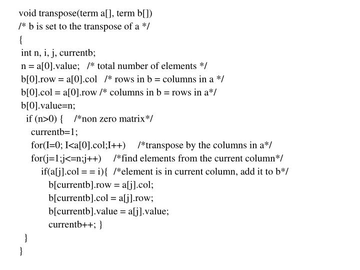 void transpose(term a[], term b[])
