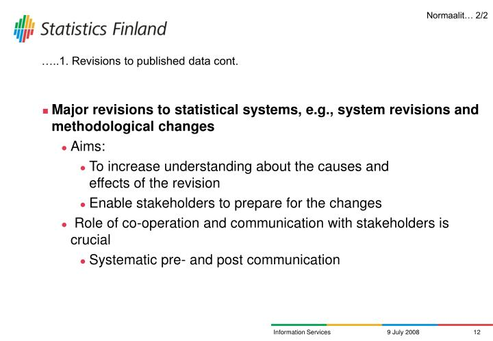 …..1. Revisions to published data cont.