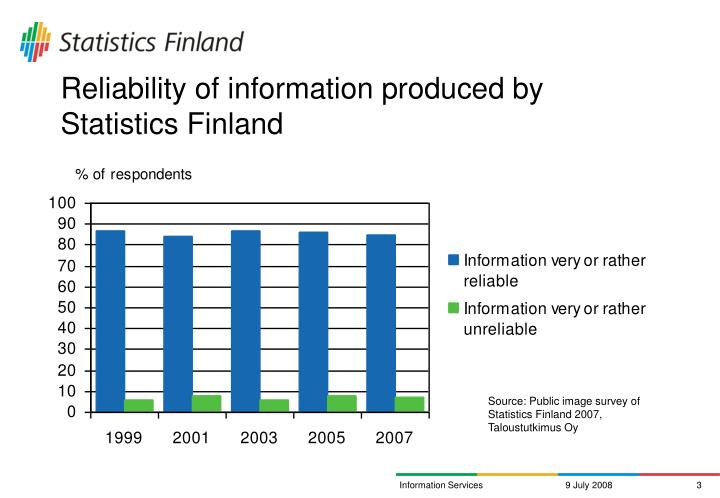 Reliability of information produced by statistics finland