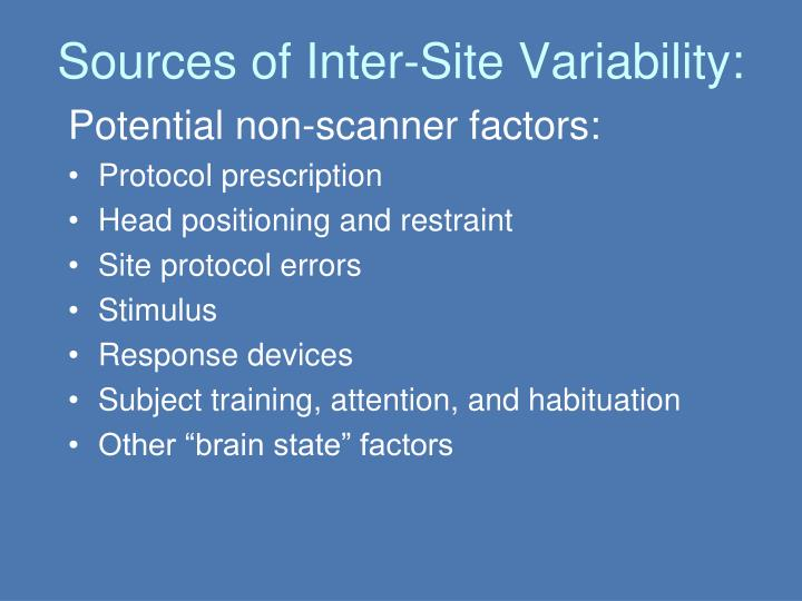 Sources of Inter-Site Variability: