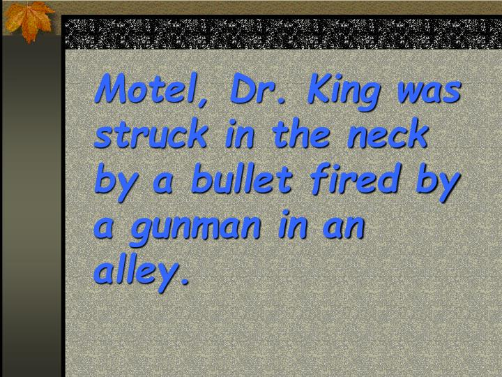 Motel, Dr. King was struck in the neck by a bullet fired by a gunman in an alley.
