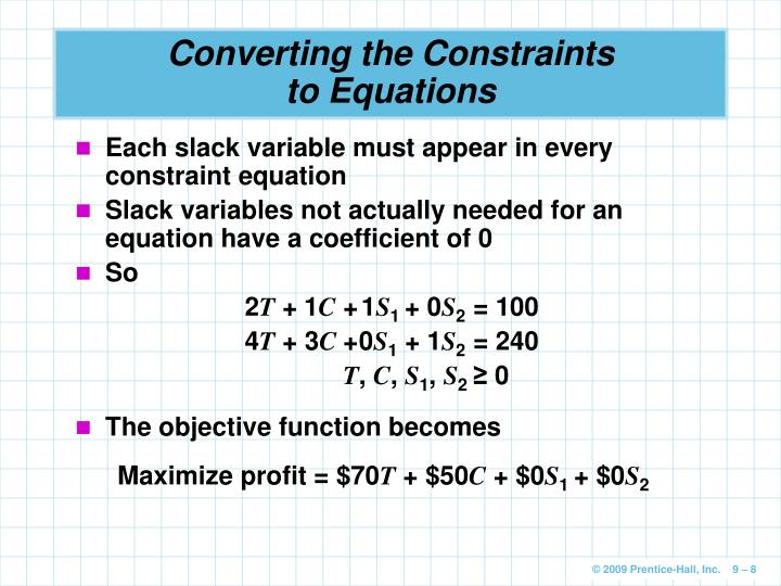 Converting the Constraints to Equations