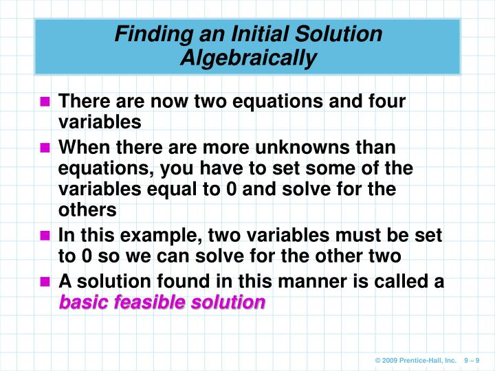 Finding an Initial Solution Algebraically