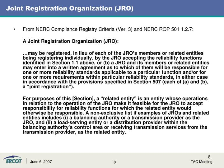 Joint Registration Organization (JRO)
