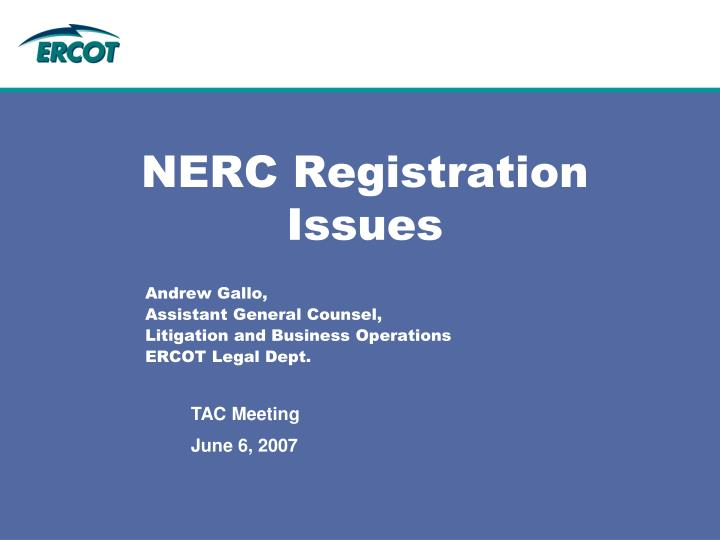 Nerc registration issues