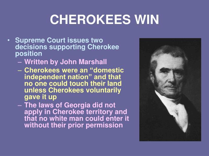 CHEROKEES WIN