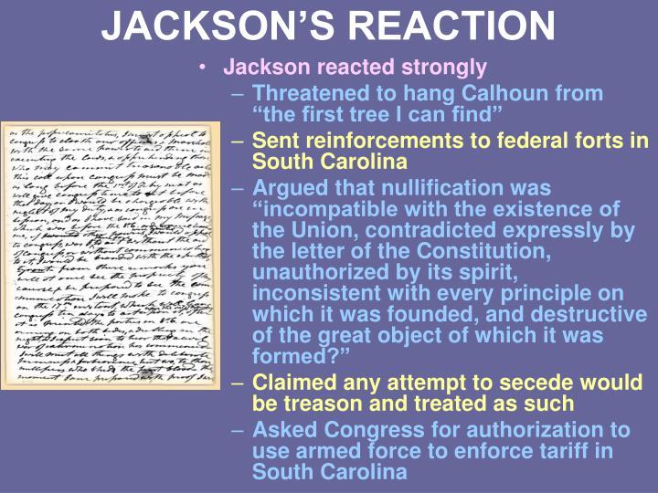 JACKSON'S REACTION