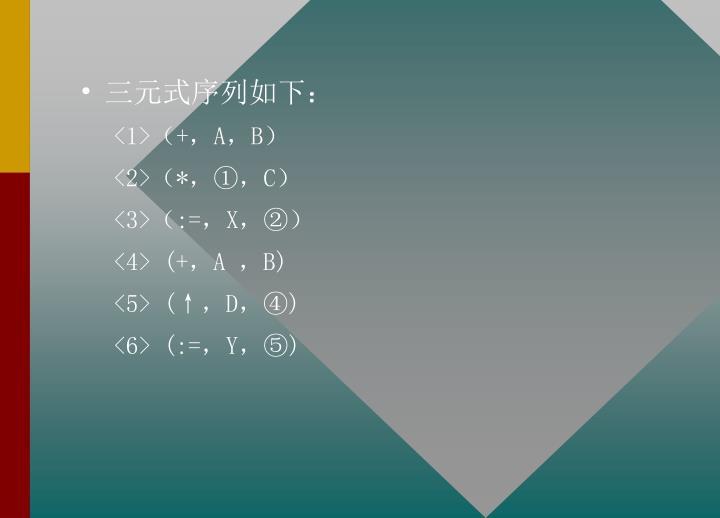 三元式序列如下: