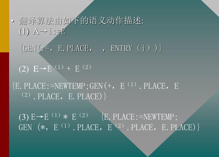 翻译算法由如下的语义动作描述: