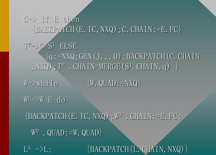 C-> if E then  {BACKPATCH(E.TC,NXQ);C.CHAIN:=E.FC}