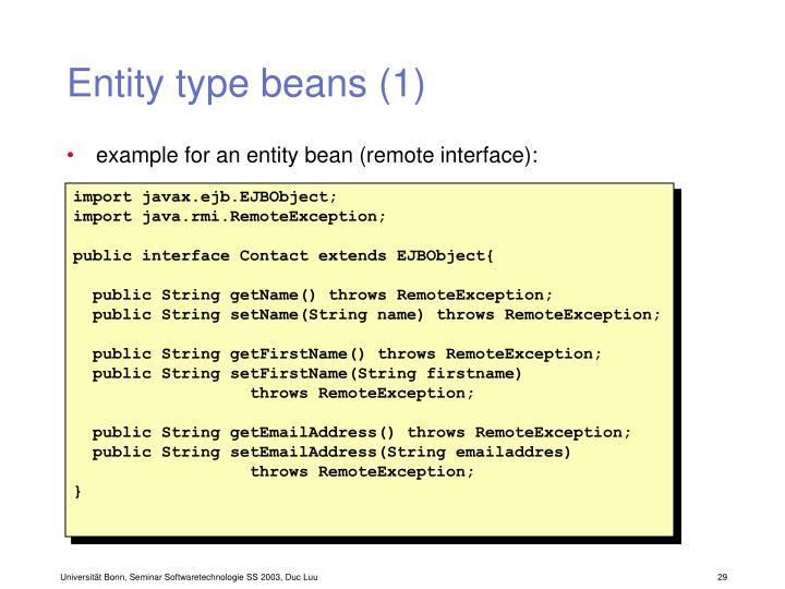 Entity type beans (1)