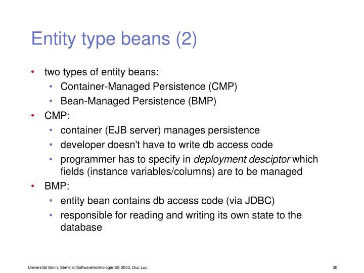 Entity type beans (2)
