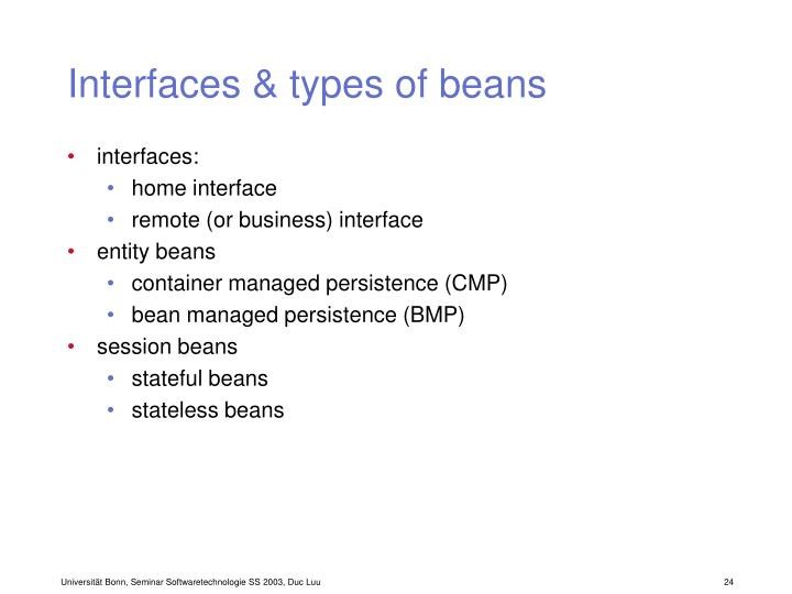 Interfaces & types of beans