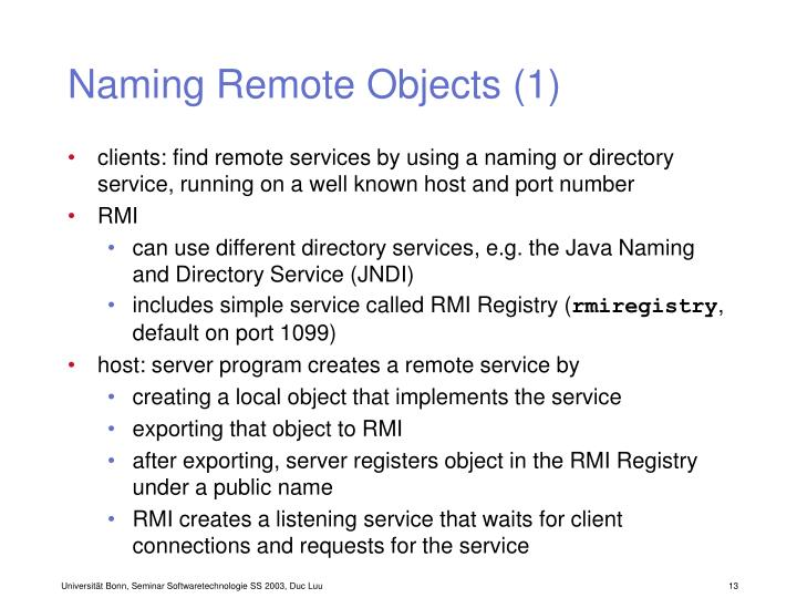 Naming Remote Objects (1)