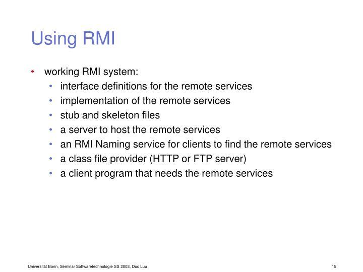 Using RMI