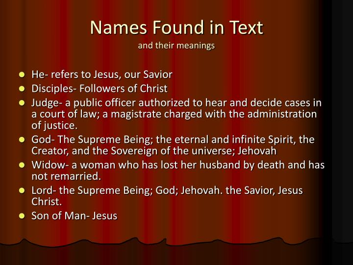 Names Found in Text