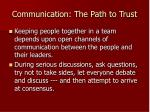communication the path to trust