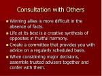 consultation with others