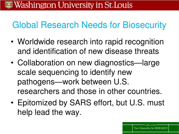 Global Research Needs for Biosecurity