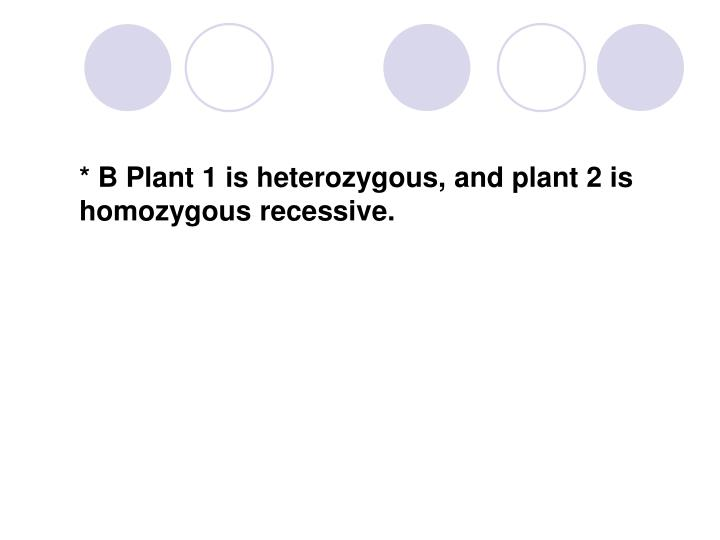 * B Plant 1 is heterozygous, and plant 2 is