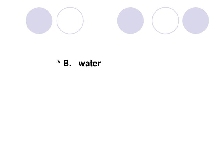 * B.   water