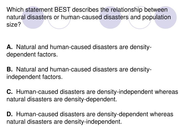 Which statement BEST describes the relationship between natural disasters or human-caused disasters and population size?