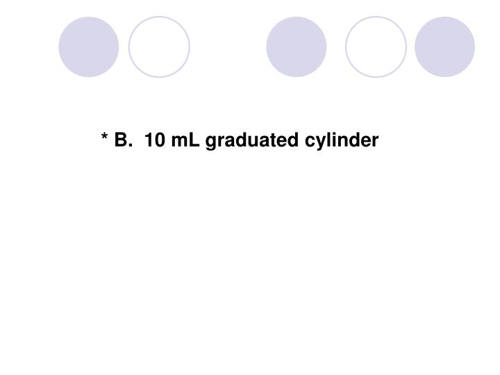 * B.  10 mL graduated cylinder