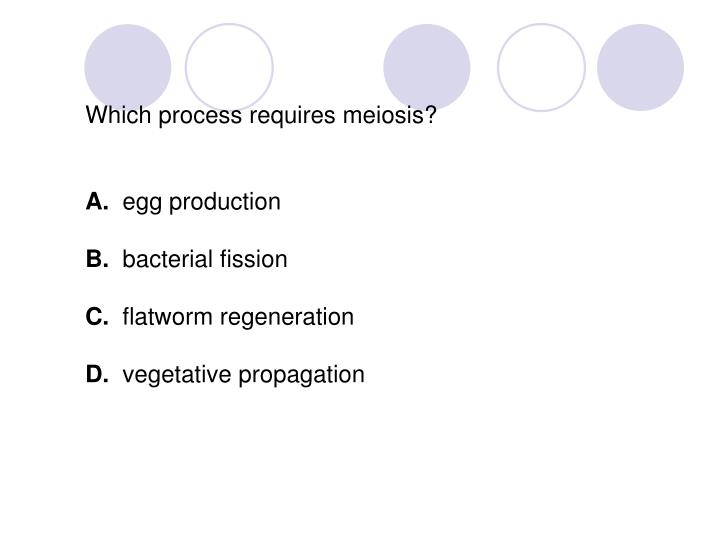 Which process requires meiosis?