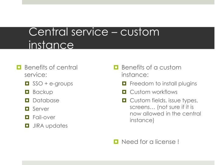 Central service – custom instance