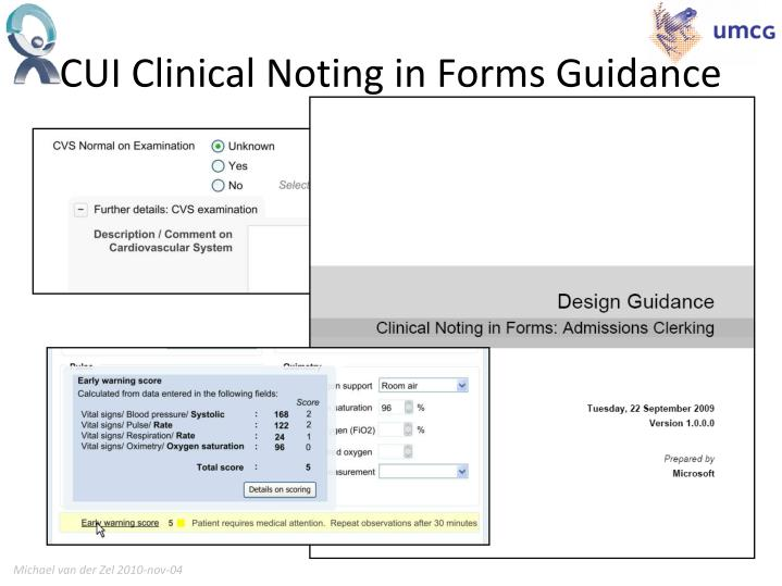 CUI Clinical Noting in Forms Guidance