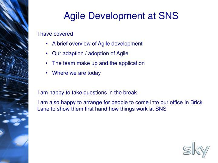 Agile Development at SNS