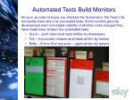 automated tests build monitors