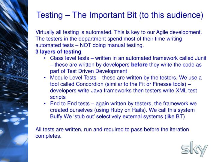 Testing – The Important Bit (to this audience)