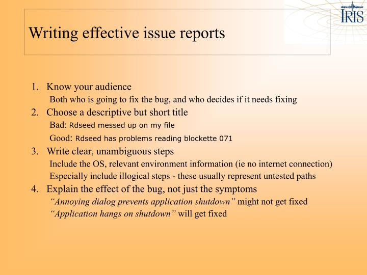 Writing effective issue reports