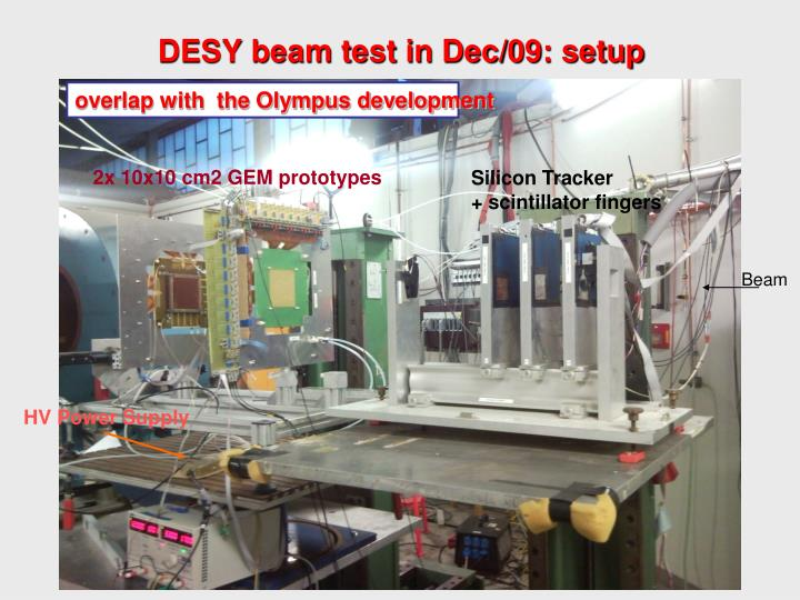DESY beam test in Dec/09: setup