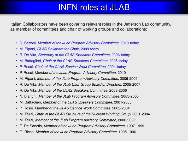 Italian Collaborators have been covering relevant roles in the Jefferson Lab community, as member of committees and chair of working groups and collaborations: