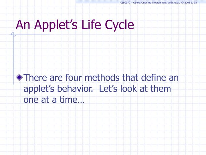 An Applet's Life Cycle