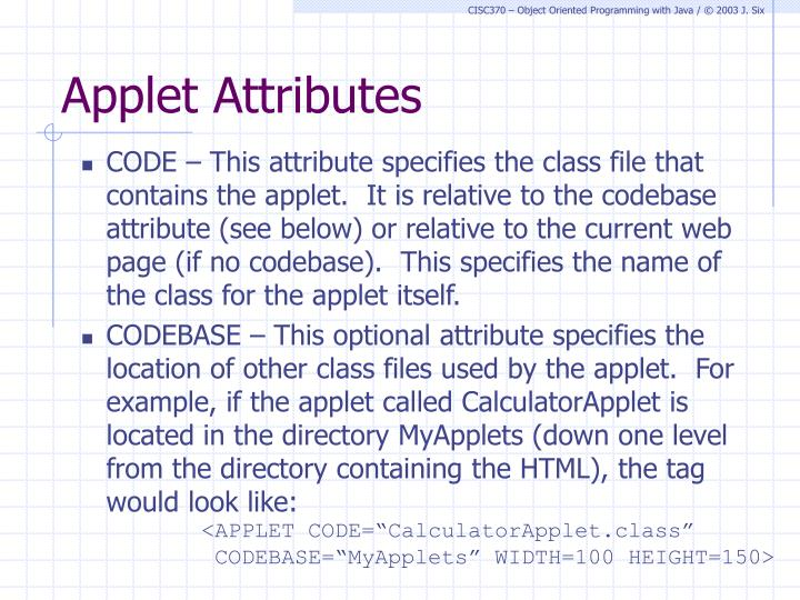 Applet Attributes