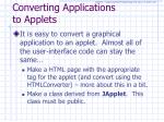 converting applications to applets