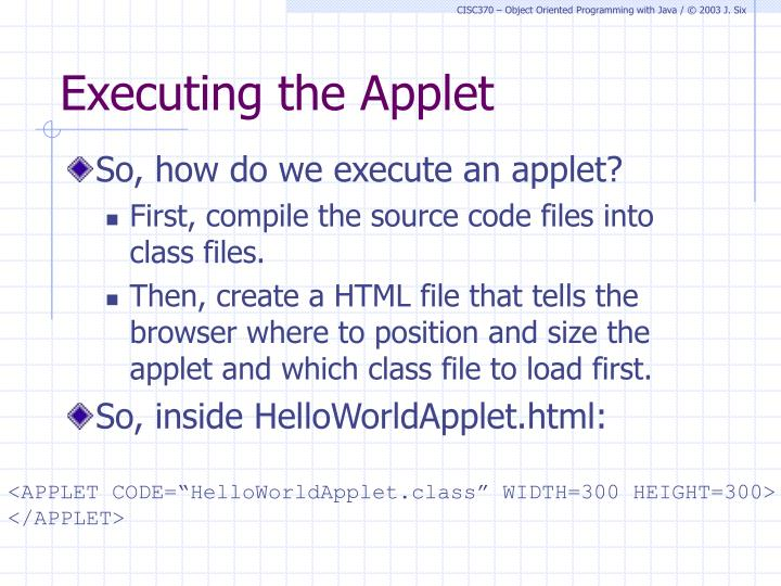Executing the Applet