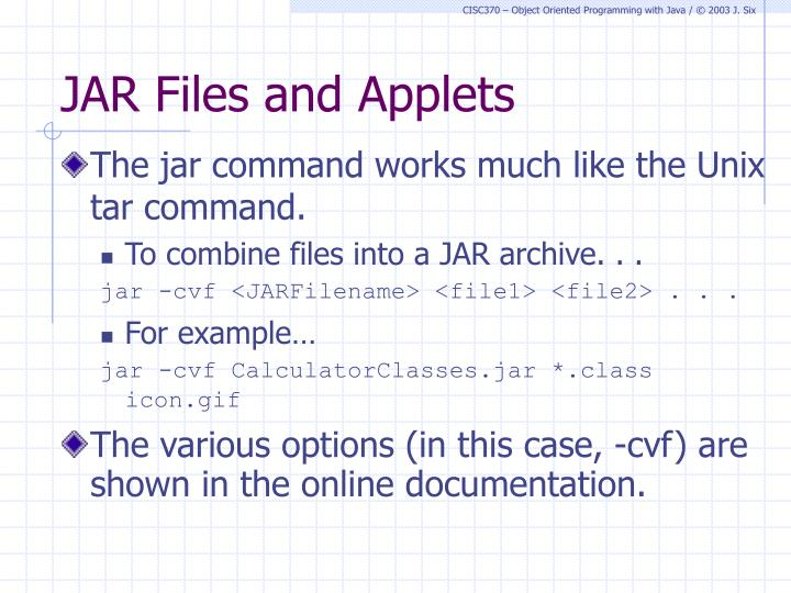 JAR Files and Applets