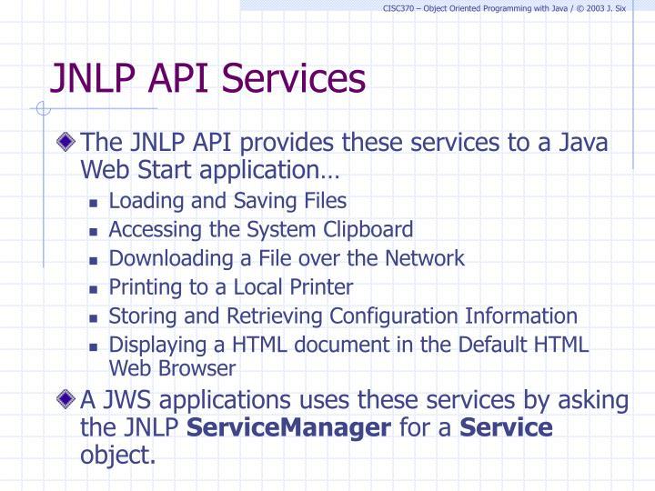 JNLP API Services