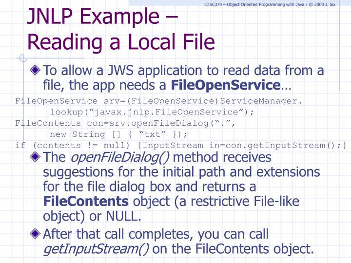 JNLP Example –