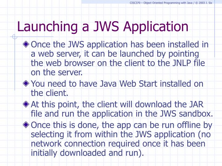 Launching a JWS Application