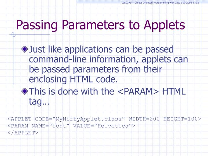 Passing Parameters to Applets